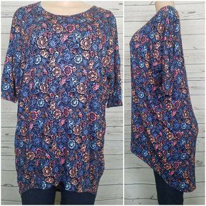 Lularoe Small Tunic Floral Irma Top Blue Shirt